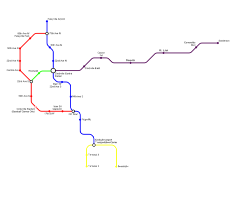 A map of the Cindyville rail system. The Blue and Red Lines are elevated rail lines, The Green and Yellow Lines are People Movers, and the Purple Line is a Commuter Rail Line. By HARTride 2012. ~ Click on the image to take a closer look.