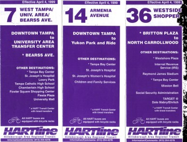 Brochures for Routes 7, 14, & 36. Scan by Orion 2003.