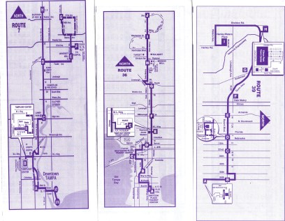 Route 7 used to be all over the place, following part of the route now carried by Route 45. Route 36 used to serve WestShore Mall, but was later altered to travel down Dale Mabry Hwy & Himes Ave only. The extension to MacDill AFB came in around 2005. Route 39 largely continues to follow the same route it was established with (the Temple Heights segment was removed in 2012). Scan by Orion 2003.
