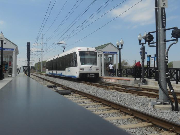 Train #401 departs towards downtown Norfolk. Photo taken by HARTride 2012. April, 2013.
