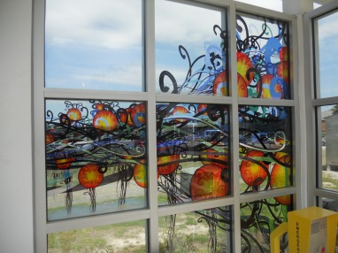 Stained glass windows (public art). Photo taken by HARTride 2012. April, 2013.