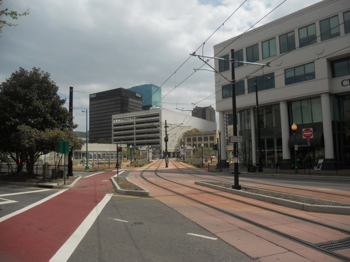 The track as it meanders through downtown Norfolk. Photo taken by HARTride 2012. April, 2013.