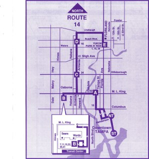 Route 14 still follows this route, but the Tampa Bay Center leg was eliminated sometime in the early 2000s, likely to improve efficiency. I'm sure the downfall of the mall also contributed to the decline in public transit in that area. Scan by Orion 2003.