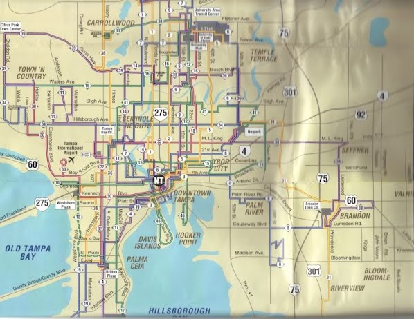 This is a transit guide map from the late 1990s. You will clearly notice that many routes have been altered over the years, and some have been completely eliminated. For example, Route 10 used to have limited service to Britton Plaza via WestShore Blvd, and Route 3 has been replaced by Route 46. Scan by Orion 2003.