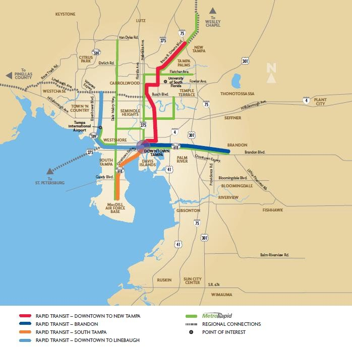 The MetroRapid system at full build-out, along with planned light rail lines.