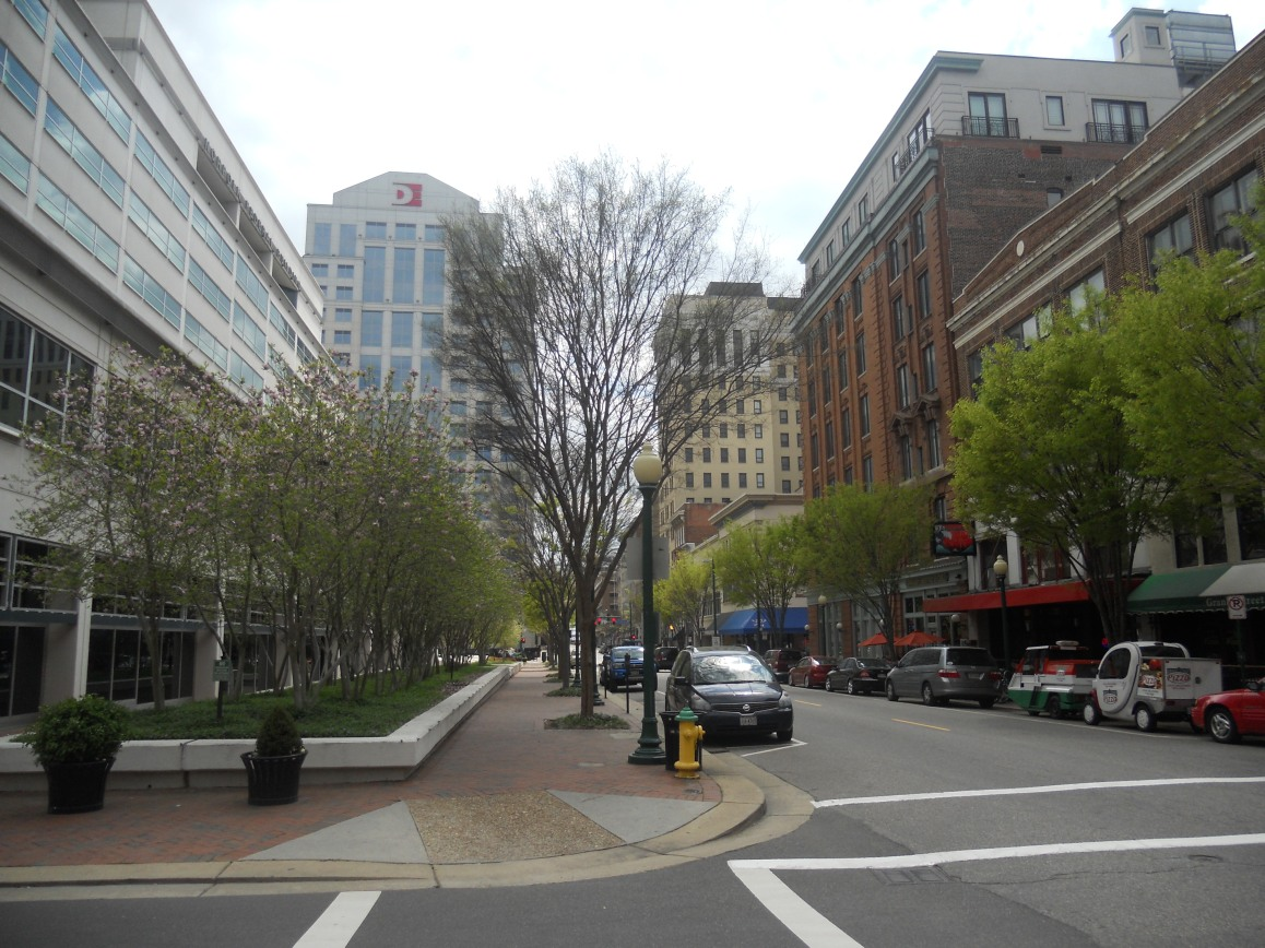 The western fringe of downtown Norfolk. Photo taken by HARTride 2012 in April, 2013.