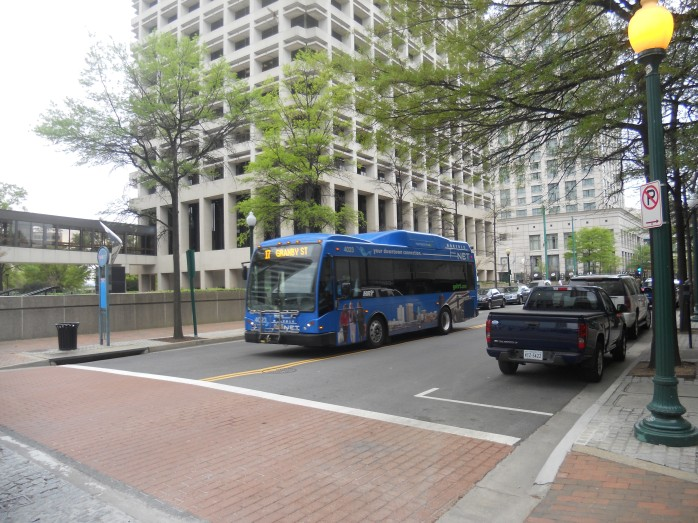 A Norfolk NET bus passing by Commerical Park in downtown Norfolk. Photo taken by HARTride 2012 in April, 2013.