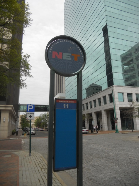 A Norfolk NET bus stop sign. Photo taken by HARTride 2012 in April, 2013.