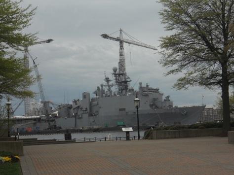 Several U.S. Navy ships sit dockside along the banks of the Elizabeth River. Photo taken by HARTride 2012 - April, 2013.