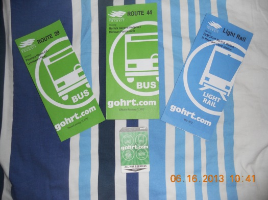 HRT bus and LRT booklets and a 1-day GoPass card.