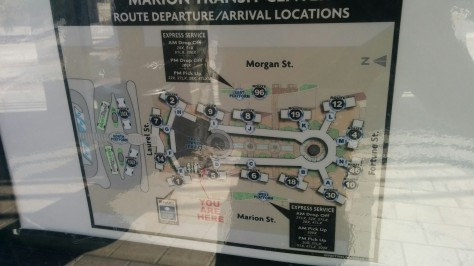 This bulletin board case displays the various boarding locations within the Marion Transit Center. Local bus routes are confined to the central (Lettered) platforms, while express bus routes drop off and pick up customers at either the East or West Platforms. The North Platform serves MetroRapid, as well as PSTA express routes 100X and 300X, and intercity bus services provided by Megabus. Photo Credit: HARTride 2012.