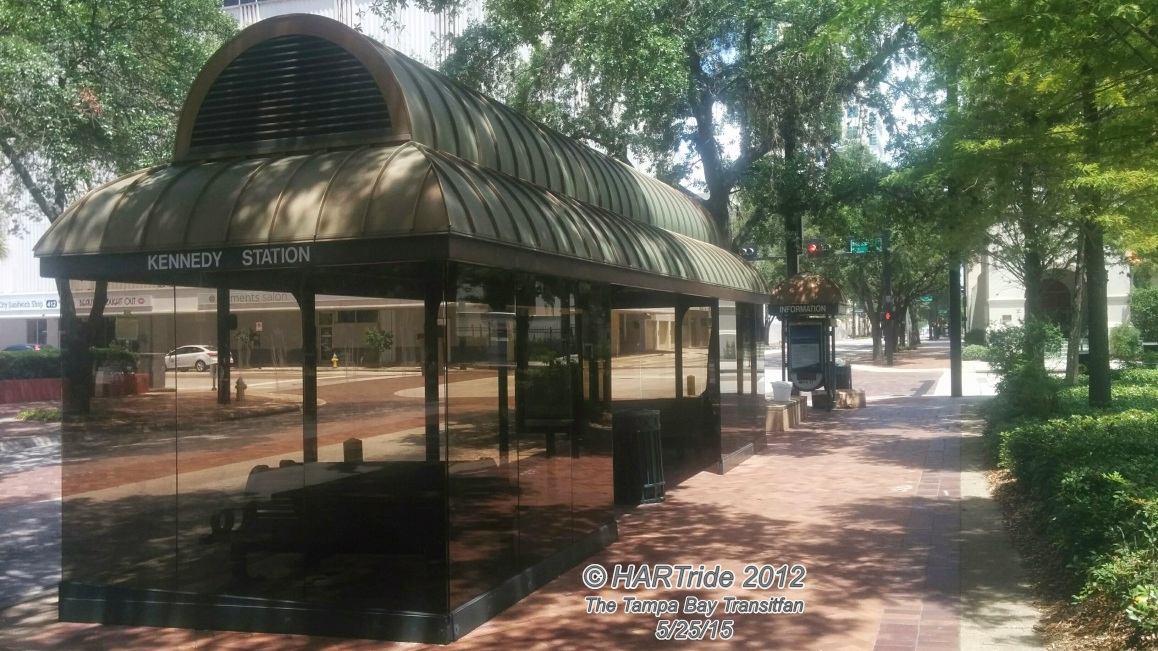 The bus shelters along Marion St are reminiscent of Tampa's past.