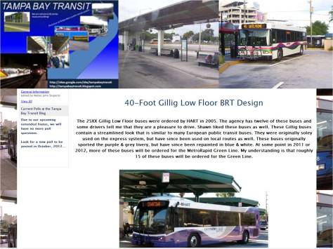 A screenshote of my old website (Tampa Bay Transit V2.5) and the website logo I used between 2011 and 2012.