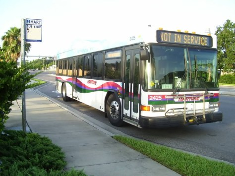 2425 sitting at a stop near Busch Gardens. 2425, 26,and 27 are the three Hybrid Diesel Electric buses. The bus does not shift like a regular bus in the sense that it doesn't seem to have gears. Nice and smooth, and the retarder works so well, you don't have to touch the brakes! Photo Credit: Shawn B.