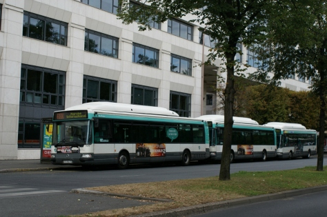 One, two, three of these awesome CNG buses, waiting for passengers to load. Photo Credit: Minato.