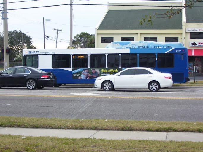 Here is #2427 finally in action after the repaint. Today it runs on the Route 2. Photo taken by HARTride 2012. May, 2010.