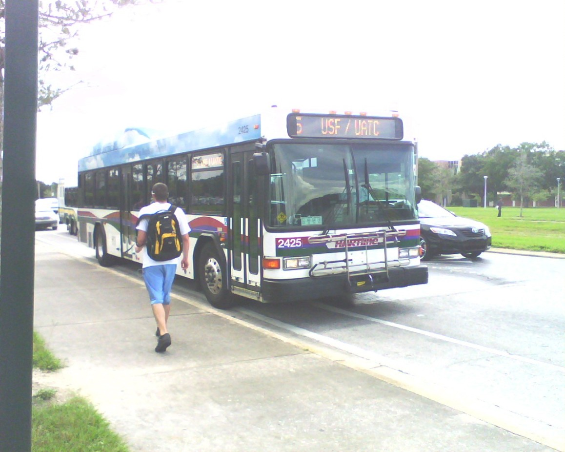 Here's 2425 one last time in the old livery by the USF Tampa Campus. Photo taken by HARTride 2012. March, 2010.