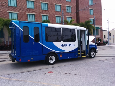 HART's new CNG-powered Paratransit van at its 7th Ave, Ybor City offices. Photo taken by HARTride 2012 - February, 2014.