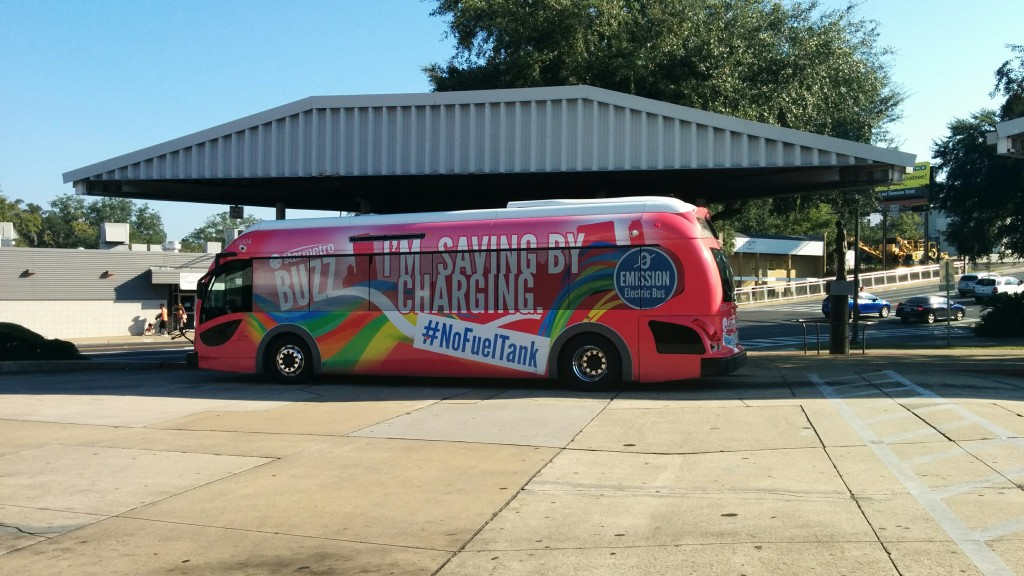 A StarMetro operated Proterra bus at the C.K. Steele Transit Plaza in downtown Tallahassee. Photo Credit: HARTride 2012. October, 2014.