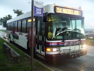 #2403 on the 25X (now 25LX) to MacDill on a miserable morning. Photo credit: Shawn B.