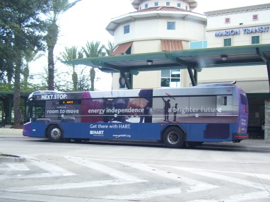 "Unknown 2005-series bus featuring HART's ""Next Stop"" ad wrap. Photo taken by HARTride 2012. December, 2010."