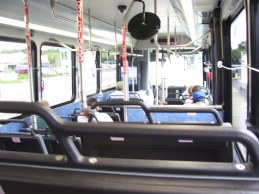 Another interior shot, notice how the seat backings are in black. Even the lighting is different, almost looking like one continuous piece. Notice again that there is no headsign on the left side window. Photo taken by HARTride 2012. September, 2009.