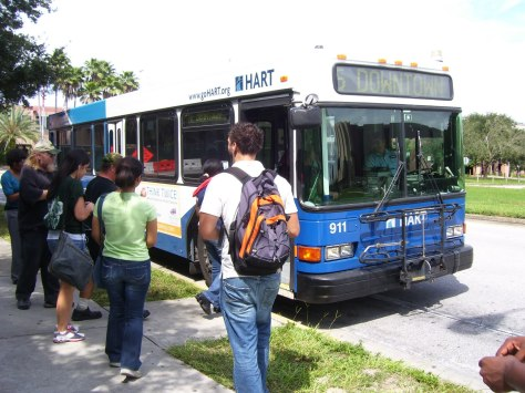 And here is #911 at the University of South Florida, operating the Route 5 - 40th Street. This bus got so packed that there was barely any room to sit! Photo taken by HARTride 2012. September, 2009.