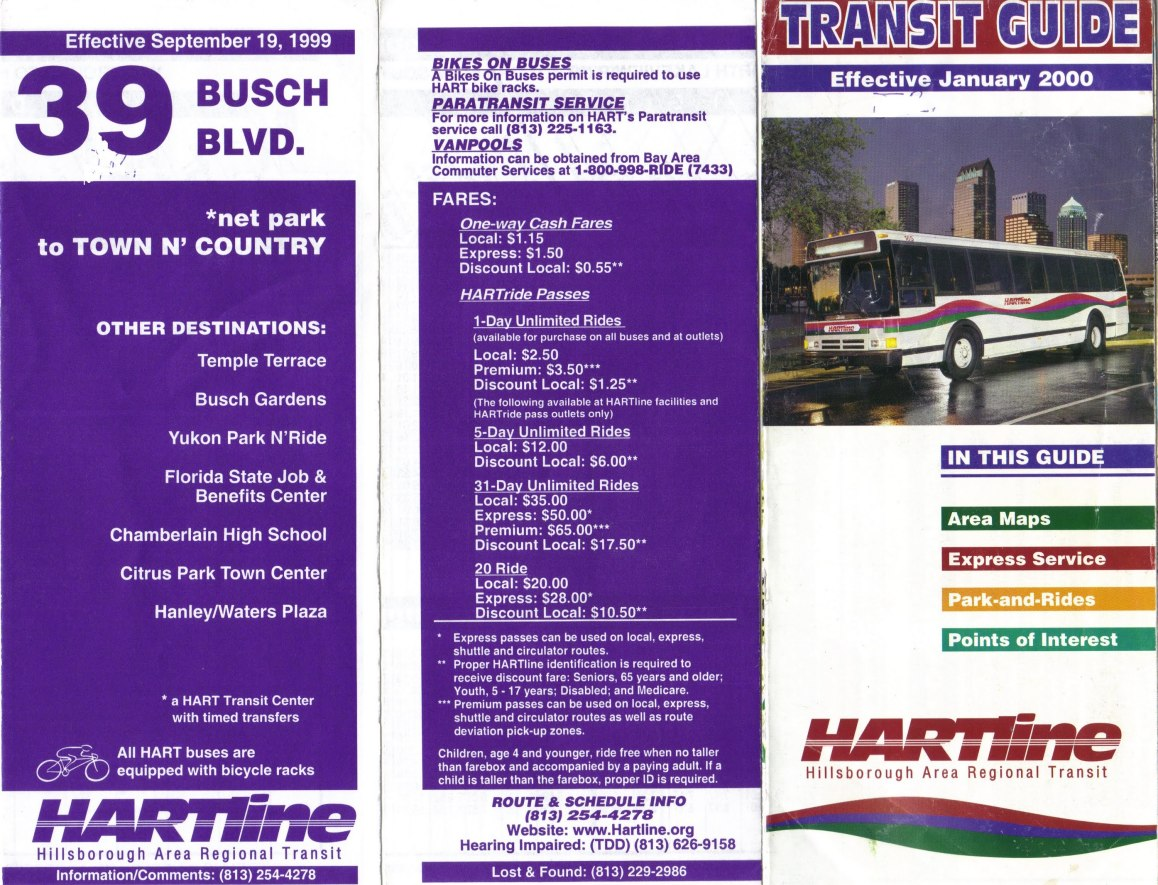 """A """"HARTline"""" Transit Guide from 2000 (right) featured a Flxible Metro bus on its cover. Photo Credit: Orion 2003."""