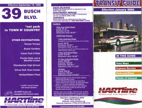 "A ""HARTline"" Transit Guide from 2000 (right) featured a Flxible Metro bus on its cover. Photo Credit: Orion 2003."