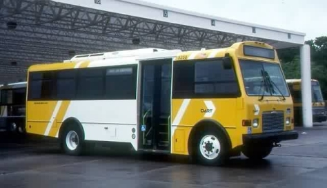 "These were the Champion/Freightliner buses before they were delivered to HART. Notice the ""bumblebee"" look. DART buses still use these colors, though liveries vary amongst the different fleets. Photo contributed by Shawn B."