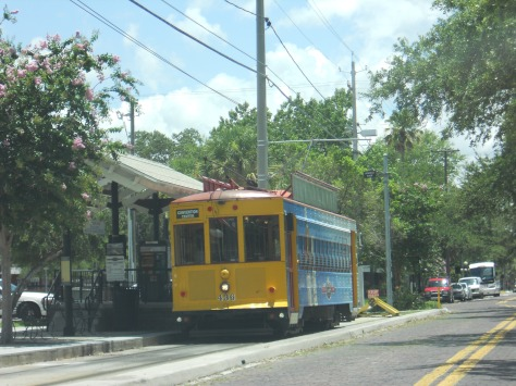 A TECOline Streetcar train waits at the Ybor City terminus. Photo taken by HARTride 2012. July, 2013.