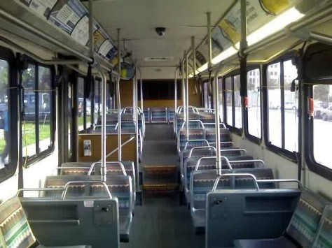 The interior of #2122. Notice the sideways-facing seats towards the front and rear of the bus? The 2001 and 2002 series 40-foot buses have this type of interior configuration. In fact, many of PSTA, SCAT, and HRT's buses also possess this same type of layout. However, HART has been moving away from this layout with its newer buses. Photo Credit: Shawn B.