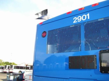 Okay, now to that tailpipe. These are actually an EPA requirement of new buses, called a particulate pipe. They are designed to spread the smoke better. Photo Credit: Shawn B.