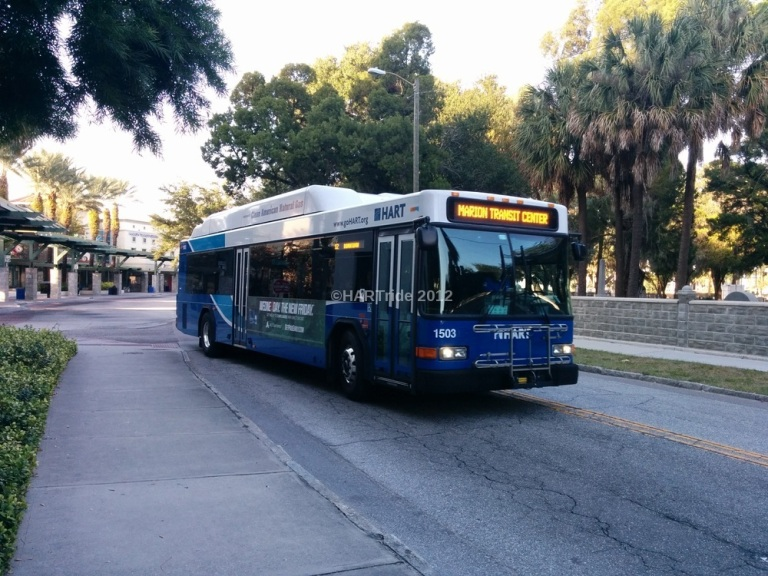 1503 leaving Marion Transit Center, Route 12.
