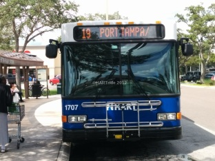 1707 pulls into Britton Plaza, Route 19.
