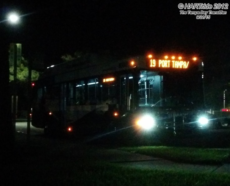 Unknown #1500 at Britton Plaza at night, running Route 19.