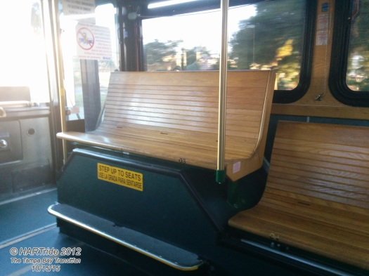 Some transit agencies opt for the seating on top of the wheel well. For HART's Gillig Low Floor buses, the trolleys are the only buses in their fleet to posses this option.
