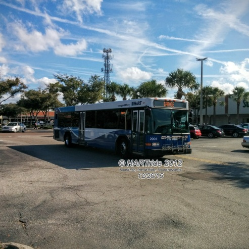 "Apparently, #2904 was not having a good day today. The operator changed the headsigns to read ""GARAGE"", meaning that he was putting the bus out of service. He then proceeded to the street-side staging area on Dale Mabry Hwy to switch buses."
