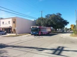 #1004 rolls down Yukon St, approaching the Transfer Center.