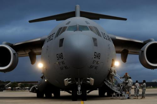 A C-17 Globemaster plane prepares for an exercise with personnel from the US Army and the US Air Force. Photo Credit: US Air Force.