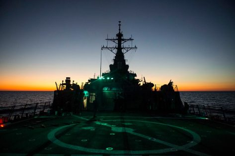 The USS Ramage (DDG-61) at sunrise (or sunset, not sure which). Photo Credit: US Navy.