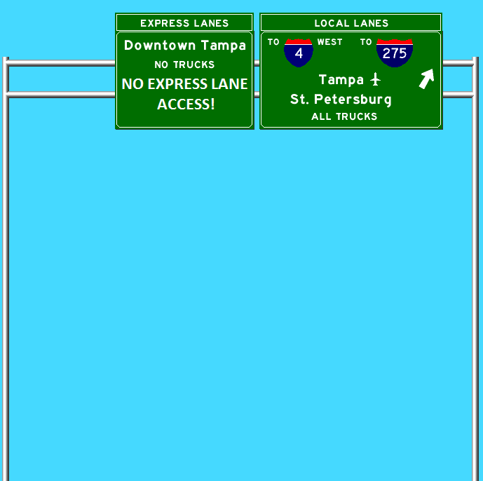 The Selmon Reversible Express Lanes (the Upper Deck) DOES NOT ALLOW ACCESS TO THE CONNECTOR! Graphic generated by Kurumi.com's SignMaker Program (then modified in Microsoft Paint).