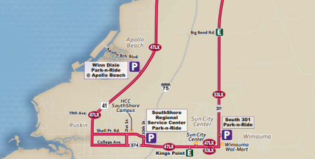 A map showing how existing Limited Express service looks like in SouthShore today. From GoHART.org.