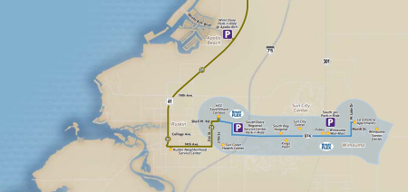 A map showing how local and HART FLEX service looks like in SouthShore today. From GoHART.org.