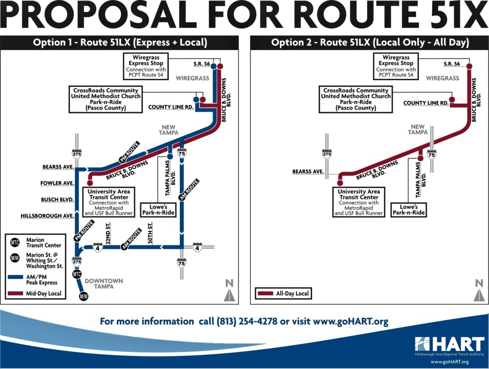 A diagram showing two proposals for Route 51LX. From HART's Finance and Governance Board meeting packet.