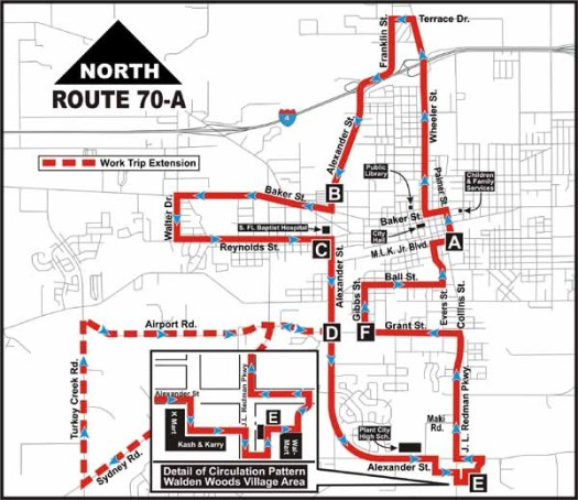One of four connector routes that ran through the heart of Plant City. Courtesy of the Wayback Machine.
