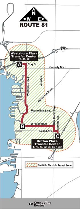 Route 81 through South Tampa. Courtesy of the Wayback Machine.