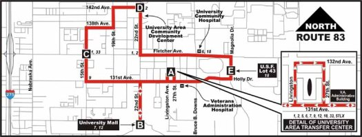 Route 83 was one of several fixed-route neighborhood connectors that ran on the HART system between the early 2000s and 2011. Courtesy of the Wayback Machine.