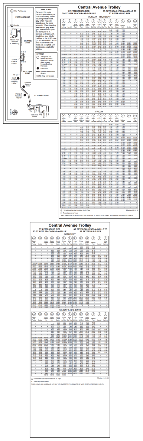 Map and schedule for the Central Ave Trolley. Click the photo for a larger view.
