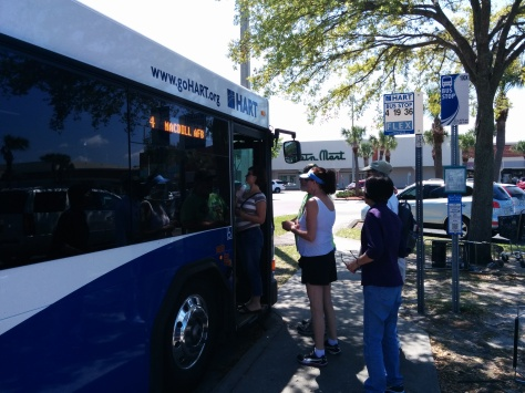"Boarding the Route 4 ""shuttle"" bus to the Tampa Bay AirFest. Photo Credit: HARTride 2012, March, 2014."